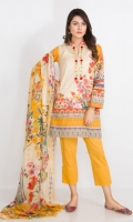 READY TO WEAR 3 PIECE (LAWN SHIRT+CAMBRIC TROUSER+CHIFFON DUPATTA)