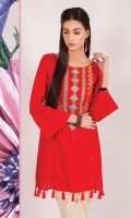 A lovely red shirt in soft lawn fabric with contrasting tribal embroidery on neckline , tassel detail and bell shaped sleeves. It's a fun number for both the young, and the young at heart .