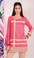 Soft medium weight linen shirt in a lovely pink with contrasting stripes all over the front , finished with an embroidered border. The wow factor of this one is the asymmetry of the sleeves with one sleeves in a beautiful bias bell.