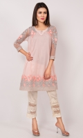 The so on trend panelled frock in soft net with delicate pastel embroidery with silver borders on hem and sleeves.