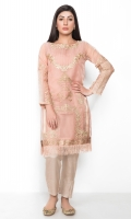 Organza shirt in a lovely tea-pink with self and gold embroidery, for that soft, understated yet chic look.