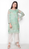 Organza shirt in a lovely sea-green with self and gold embroidery, for that soft ,understated yet chic look.