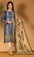 Custom made jacquard shirt with gold pattern in a lovely shade of blue and a detailed embroidered neckline. It comes with a digital print chiffon dupatta.