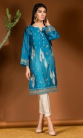 Bright cobalt blue cotton net shirt with Mughal embroidery all over in shades of beige gold and copper.