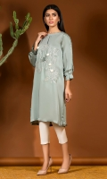 Slate green charmeuse silk shirt with detailed designed sleeves and a delicate floral motif with 3D hand embellishment.