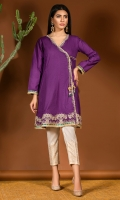 Purple angrakha in self textured cotton fabric with gold embroidery on hem, gota lace finishing and dori tassel details.