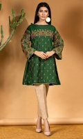 Bottle green woven silk cotton shirt with and elaborate embroidery all over, with heavy embroidered sleeves and an organza frill on neckline.