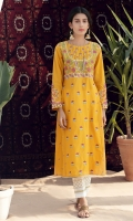 A traditional yellow number with Indian embroidery all over done in a paneled long shirt with yoke and gota detail.