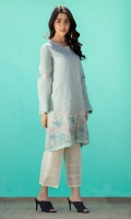 Soft blue self textured jacquard shirt with delicate embroidery on hem and sleeves,pink loops and pleating detail on sleeves.