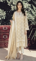 Custom made jacquard shirt+dupatta with cream colored embroidery on neckline, hem and sleeves.