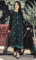 Black long shirt with a deep turquoise embroidery all over the front , and sleeves.It comes with a woven dupatta in black and turquoise.