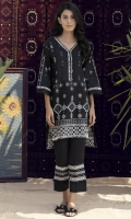 Straight fit black&white lawn shirt with lace detail and pearl & crystal finishing on neckline.