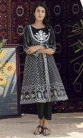 Black& white printed shirt in multi panels with embroidered front patti & insert on neckline with motif.