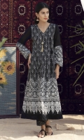 Angrakha in a classic black&white print , with plain black chiffon sleeves with patched printed border, and fringe lace on hem.