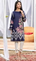 Deep navy blue lawn shirt with white embroidery and sequins chevrons and multi color rendered floral motifs.