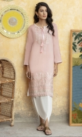 Light ,soft and pretty pink summer shirt with muted embroidery on neckline and hem, lace detail on sleeves and tassel finishing.