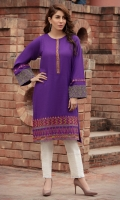 Long shirt with contrasting embroidered bold border on hem and sleeves, with a slim embroidered placket.