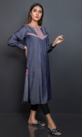 Chambre in grey color with a silk finish, done with a tribal embroidered patti on neckline, slit and yoke.