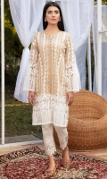 Soft beige Lawn shirt with laces & embroidery all over the front, with a thick white lace edging on sleeves and hem.