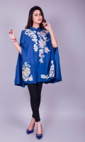 Cobalt blue cape in cotton net in a modern cut with a surreal oriental embellishment on front. Pair it with your jumpsuits or skinny jeans for a modern look, or a pair of raw silk bell bottoms and plain shirt for a more dressed up smart look.