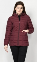 Puffer jacket with lining Long sleeves with elasticized cuffs Hood with draw strings Front pockets Front zip closure Color: Maroon