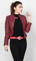 Leather jacket with lining Front zip closure Long sleeves Color: Maroon