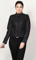 Leather jacket with lining Front zip closure Long sleeves Color: Black