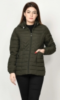 Puffer jacket with lining Long sleeves with elasticized cuffs Hood with draw strings Front pockets Front zip closure Color: Dark Green