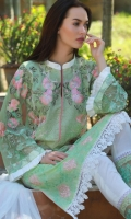 Dupatta : Pure Chiffon-Dyed 2.5 Meters Shirt Front : Dyed Jacquard Embroidered 1.25 Meters  Shirt Back : Dyed Jacquard Embroidered 1.25 Meters  Sleeves : Chiffon Embroidered 1 Pair  Trouser Dyed 2.5 Meters  Border : Embroidered 1 Piece  Border : Embroidered 2 Pieces