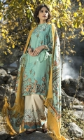 Shawl: Printed : 2.5 Meters Shirt Front:Embroidered-Dyed: 1.25 Meters Shirt Back:Printed : 1.25 Meters Sleeves: Embroidered-Printed : 1 Pair  Trouser:Printed : 2.5 Meters Weight : : 1.5 kg