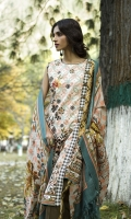 Shawl: Printed : 2.5 Meters Shirt Front:Embroidered-Printed: 1.25 Meters Shirt Back:Printed : 1.25 Meters Sleeves: Printed: 1 Pair  Trouser:Dyed : 2.5 Meters Motif :Embroidered : 2 Pieces Weight : : 1.5 kg
