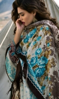 Shawl: Printed : 2.5 Meters Shirt Front:Embroidered-Dyed:1.25 Meters Shirt Back:Printed : 1.25 Meters Sleeves: Embroidered-Printed : 1 Pair Trouser:Dyed :2.5Meters Motif : Embroidered : 2 Pieces