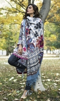 Shawl: Printed : 2.5 Meters Shirt Front:Embroidered-Printed : 1.25 Meters Shirt Back:Printed : 1.25 Meters Sleeves: Printed: 1 Pair  Trouser:Dyed : 2.5 Meters Motif : Embroidered : 2 Pieces Weight : : 1.5 kg