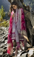 Shawl: Printed : 2.5 Meters Shirt Front:Embroidered-Dyed : 1.25 Meters Shirt Back:Printed : 1.25 Meters Sleeves: Embroidered-Dyed: 1 Pair  Trouser:Printed : 2.5 Meters Border : Printed : 1 Piece Border : Embroidered : 1 Piece Weight : : 1.5 kg