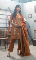 Shirt: Front: Embroidered/Printed1.25 Meters Shirt: Back: Printed 1.25 Meters Dupatta: Printed 2.5 Meters Sleeves: Printed1 Pair Trouser: Dyed 2.5 Meters Weight: 1.3 kg