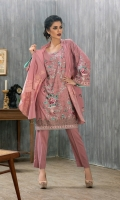 Shirt: Front: Embroidered/Dyed	1.25 Meters Shirt: Back: Embroidered/Dyed	1.25 Meters Dupatta: Printed	2.5 Meters Sleeves: Embroidered/Dyed	1 Pair	 Trouser: Dyed 2.5 Meters Weight: 1.3 kg