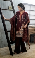 Shirt: Front: Embroidered/Dyed	1.25 Meters Shirt: Back: Embroidered/Dyed	1.25 Meters Dupatta: Printed	2.5 Meters Sleeves: Embroidered/Dyed 1 Pair	 Trouser: Dyed 2.5 Meters	 Weight: 1.3kg