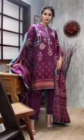 Shirt: Front: Embroidered/Printed1.25 Meters Shirt: Back: Printed 1.25 Meters Dupatta: Printed2.5 Meters Sleeves: Embroidered/printed1 Pair Trouser: Dyed 2.5 Meters Weight: 1.3 kg