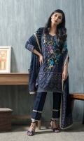 Shirt: Front: Embroidered/Printed1.25 Meters Shirt: Back: Printed 1.25 Meters Dupatta: Printed2.5 Meters Sleeves: Embroidered/Printed1 Pair Trouser: Dyed2.5 Meters  Weight: 1.3 kg