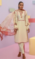 Shirt front: Dyed embroidered 1.25 meters Shirt back: Dyed 1.25 meters Dupatta: Chiffon printed 2.5 meters Sleeves: Dyed embroidered 1-pair Trouser: Dyed 2.5 meters