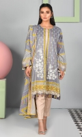 Shirt front: Printed embroidered 1.25 meters Shirt back: Printed 1.25 meters Dupatta: Lawn printed 2.5 meters Sleeves: Printed 1-pair Trouser: Dyed 2.5 meters