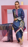 Shirt front: Dyed embroidered 1.25 meters Shirt back: Dyed embroidered 1.25 meters Dupatta: Chiffon printed 2.5 meters Sleeves: Dyed embroidered 1-pair Trouser: Dyed 2.5 meters