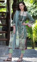 Dupatta : Printed Lawn	2.5 Meters Shirt Front :	Embroidered	1.25 Meters Shirt Back :	Printed 1.25 Meters Sleeves :	Printed	1 Pair Trouser Dyed	2.5 Meters