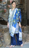 Dupatta : Lawn Print	2.5 Meters Shirt Front :	Embroidered	1.25 Meters Shirt Back :	Printed 1.25 Meters Sleeves :	Printed	1 Pair Trouser Dyed	2.5 Meters