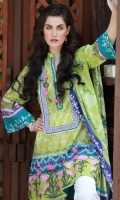Dupatta : Printed Lawn	2.5 Meters Shirt Front :	Embroidered	1.25 Meters Shirt Back :	Printed 1.25 Meters Sleeves :	Printed	1 Pair Trouser White Paste Print	2.5 Meters