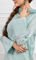 Chikankari A-symetric embroidered kurta , neck embellished with sheesha, straight sleeves.