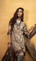 Dupatta: Printed Lawn 2.5 Meters  Shirt Front: Printed Lawn 1.25 Meters  Shirt Back: Printed Lawn  1.25 Meters  Sleeves: Printed Lawn 1 Pair  Trouser: Dyed 2.5 Meters