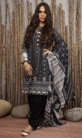 Dupatta: Printed Chiffon 2.5 Meters  Shirt Front: Printed Lawn 1.25 Meters  Shirt Back: Printed Lawn  1.25 Meters  Sleeves: Printed Lawn 1 Pair  Trouser: Dyed 2.5 Meters