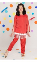 Red Chiffon Girl Kameez and Pant