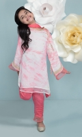 Pink and White Tie&Dye Girl Kameez, Pant and Dupata